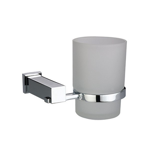 DAWN 8202S SQUARE SERIES SINGLE GLASS TUMBLER TOOTH BRUSH HOLDER IN SATIN NICKEL