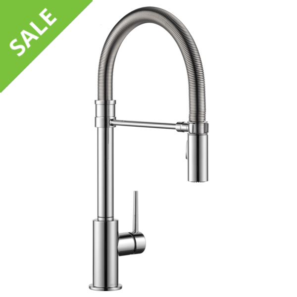 SALE! Delta 9659-DST Trinsic Pro Single Handle Pull-Down Kitchen Faucet With Spring Spout in Chrome