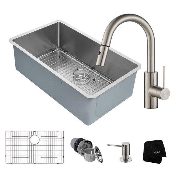 Kraus Khu100 32 2620 41ss 32 Inch Handmade Undermount Single Bowl 16 Gauge Stainless Steel Kitchen Sink Set With