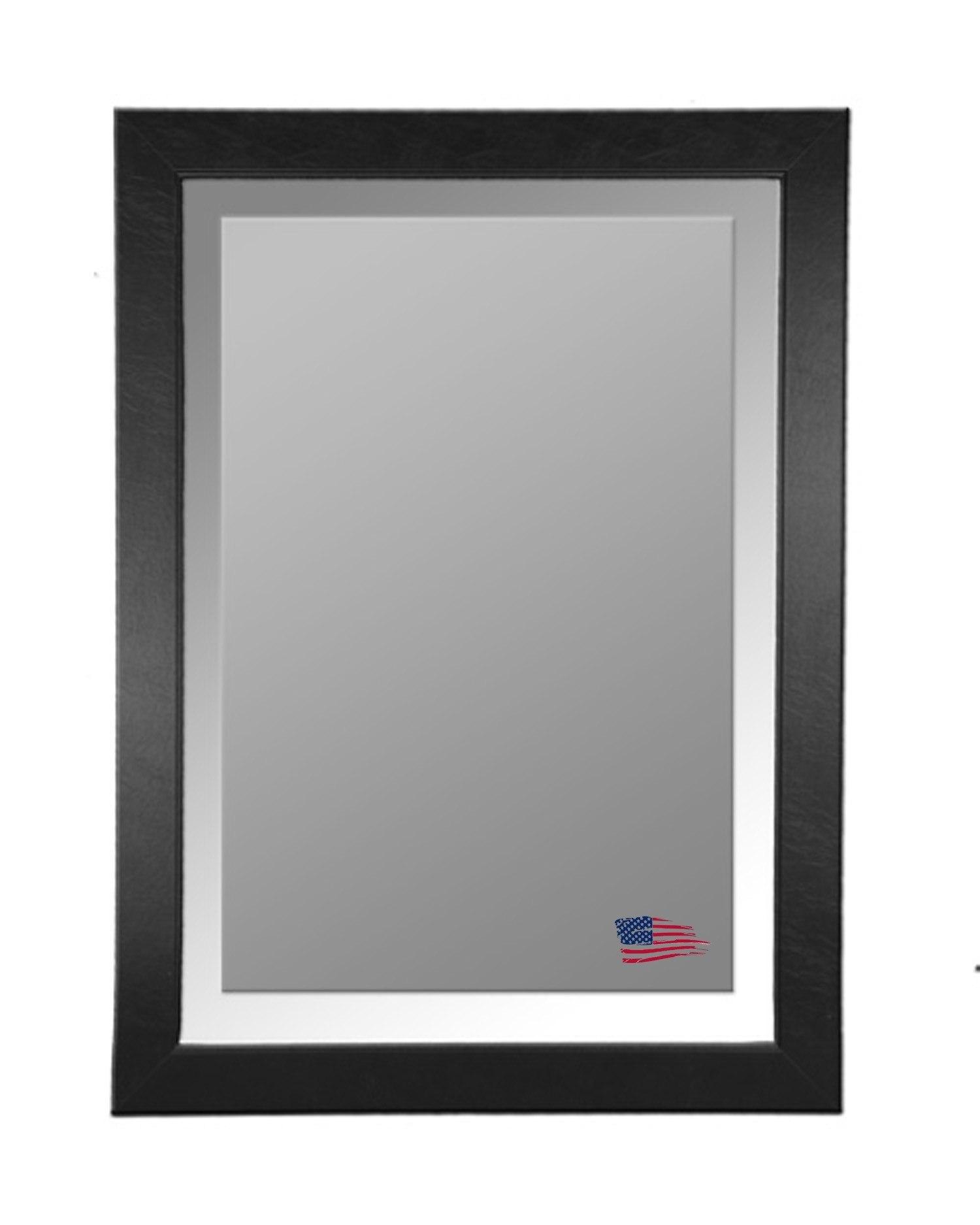 Rayne Mirrors R0012LV 41 x 35 Inch Black Leather Wall Mirror