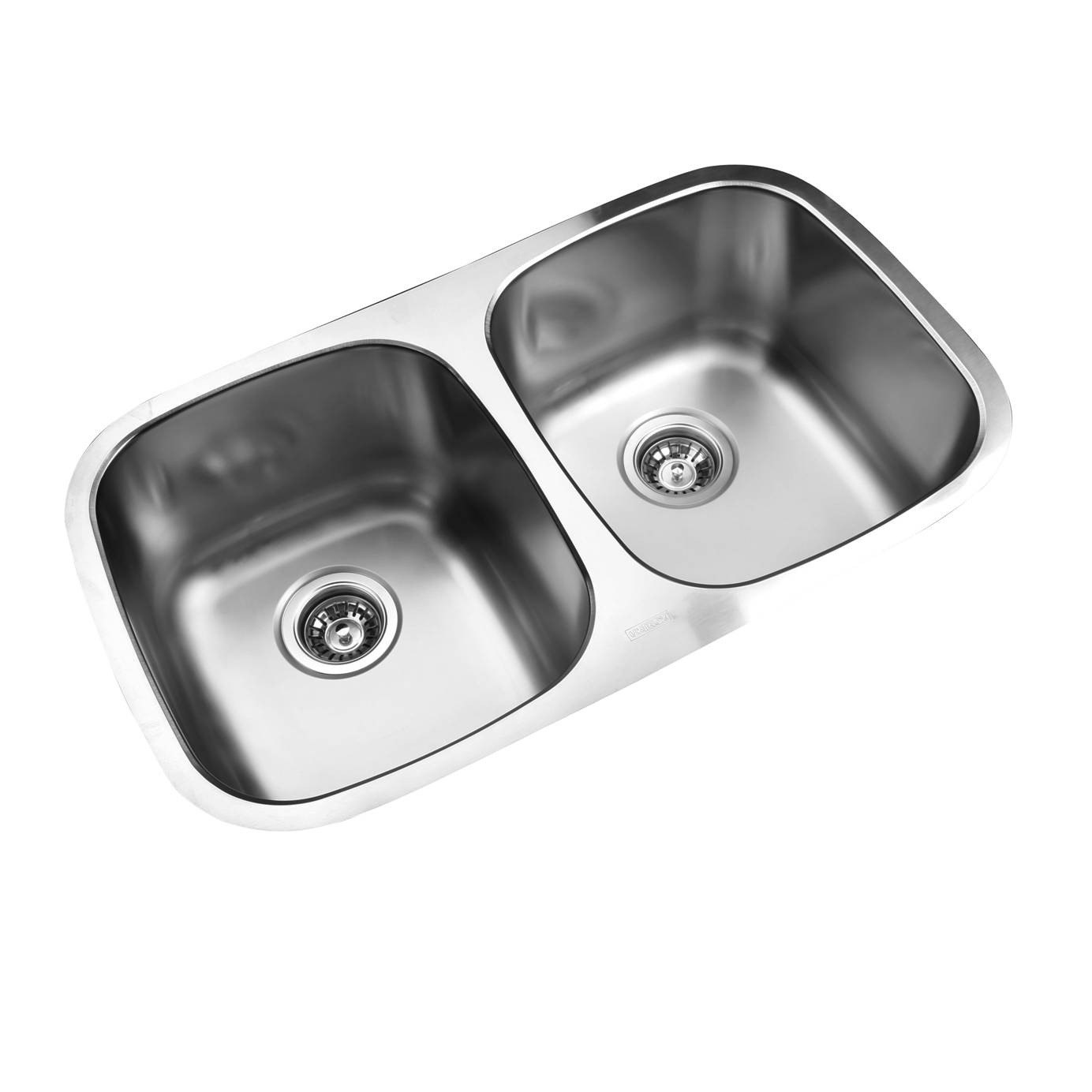 Ukinox D345.50.50.9C Undermount Double Bowl Stainless Steel Kitchen Sink With Cutting Board
