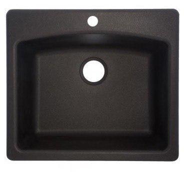 Franke ESOX25229-1 Ellipse 25 Inch Dual Mount Kitchen Sink in Onyx Finish