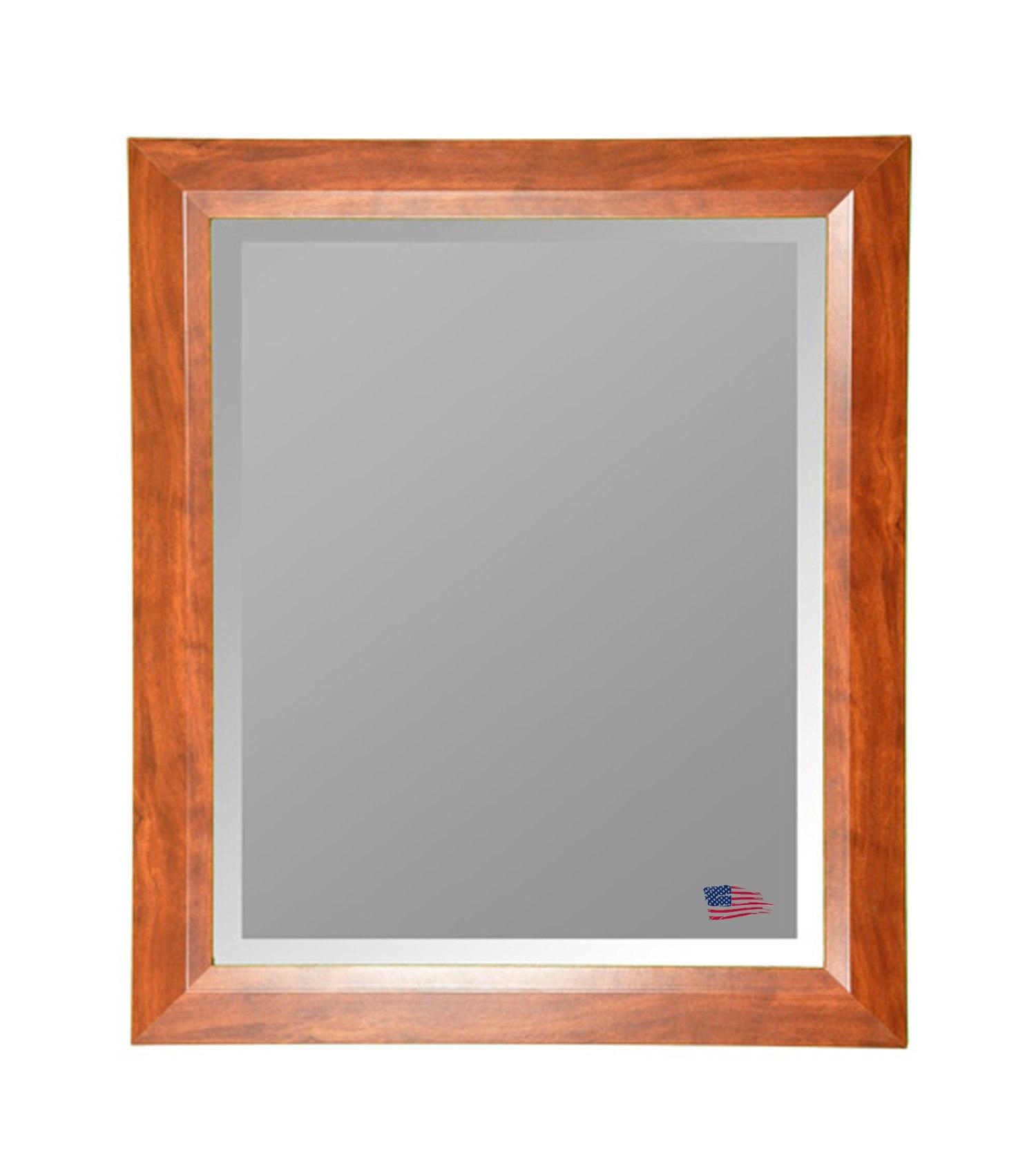 Rayne Mirrors R0016LV 41.75 x 35.75 Inch Wallnut Wall Mirror