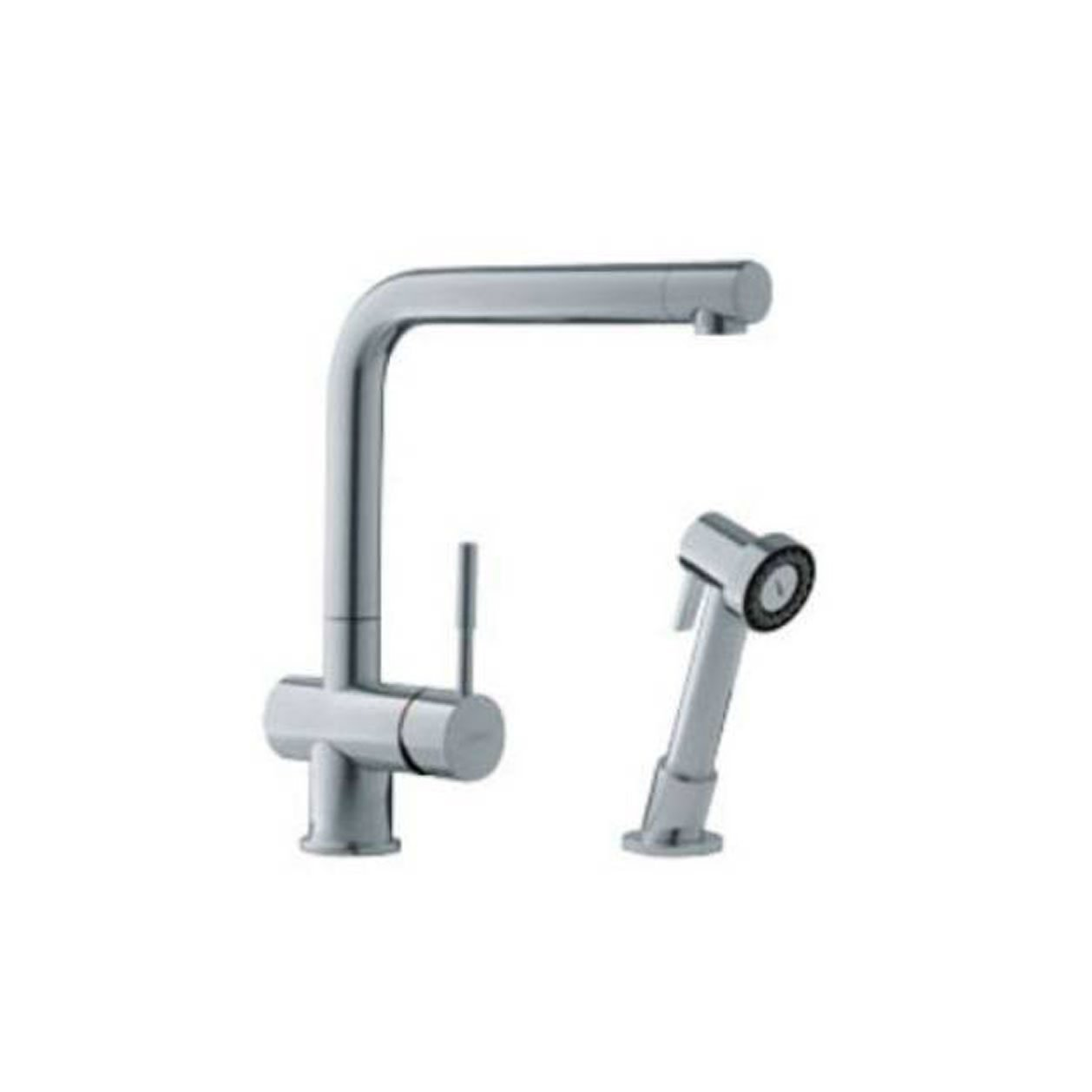 FRANKE FF-5080 SERIES SINGLE LEVER CAST SPOUT FAUCET WITH SIDE SPRAY - SATIN NICKEL FINISH