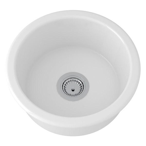 Rohl 6737 Allia Fireclay 18-1/8 Inch Fireclay Round Single Bowl Bar/Food Prep Sink