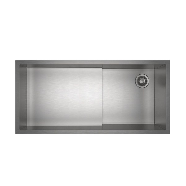 Rohl RUW3616SB Culinario 37-7/8 Inch Rectangular Undermount Single Bowl Kitchen Sink in Brushed Stainless Steel