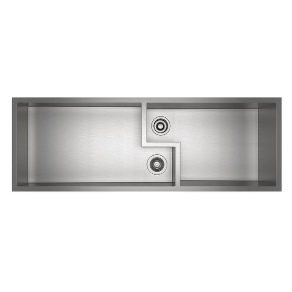 ROHL RUW4916SB CULINARIO 51-5/8 INCH RECTANGULAR UNDERMOUNT DOUBLE BOWL KITCHEN SINK IN BRUSHED STAINLESS STEEL