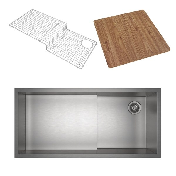 Rohl RUWKIT36161SB Culinario 37-7/8 Inch Rectangular Undermount Single Bowl Kitchen Sink with Cutting Board in Brushed Stainless Steel