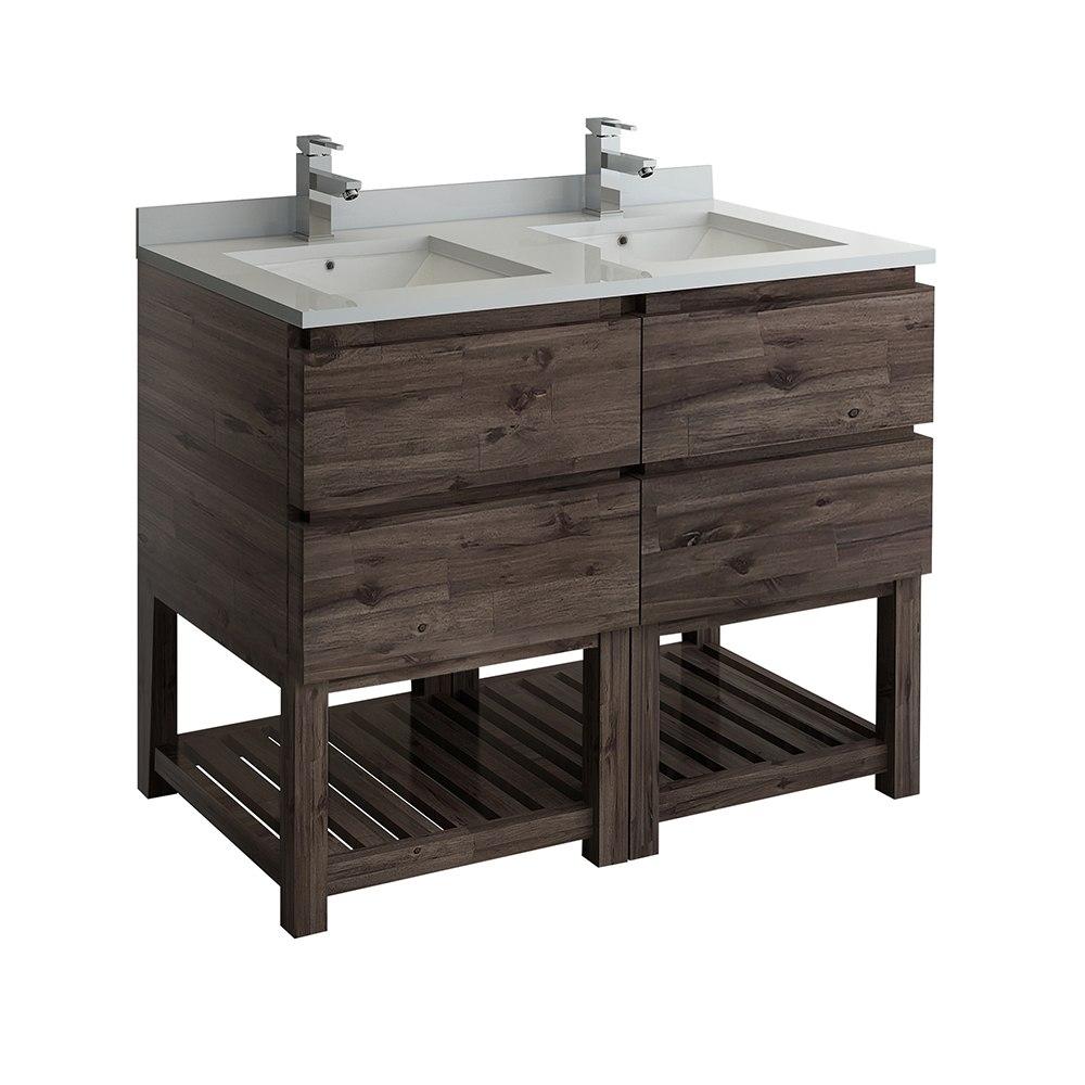 Fresca Fcb31 2424aca Fs Formosa 46 Inch Floor Standing Open Bottom Double Sink Modern Bathroom Cabinet In Acacia Wood Finish
