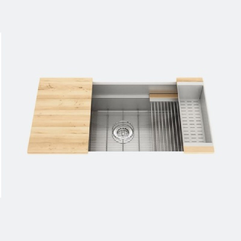 JULIEN 005403 SMARTSTATION 37 1/2 x 19 5/8 x 10 INCH UNDERMOUNT STAINLESS STEEL KITCHEN SINK IN MAPLE
