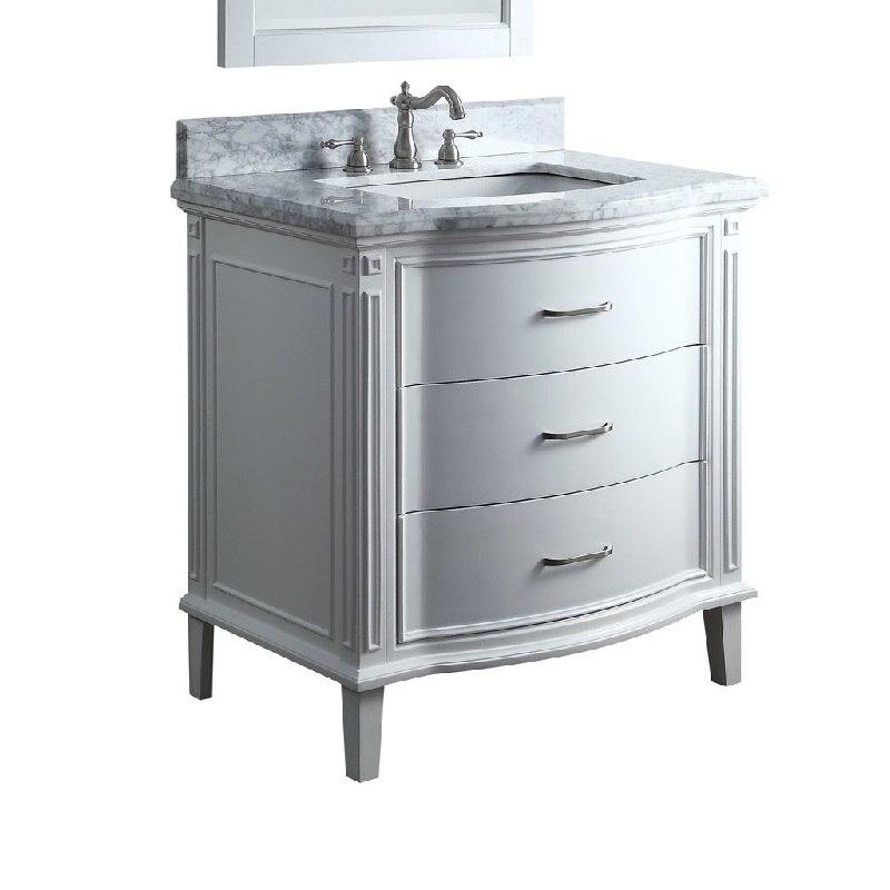 Chans Furniture Gd 9733 34 Inch Benton Collection Italian Carrara Marble White Tigan Bathroom Sink Vanity