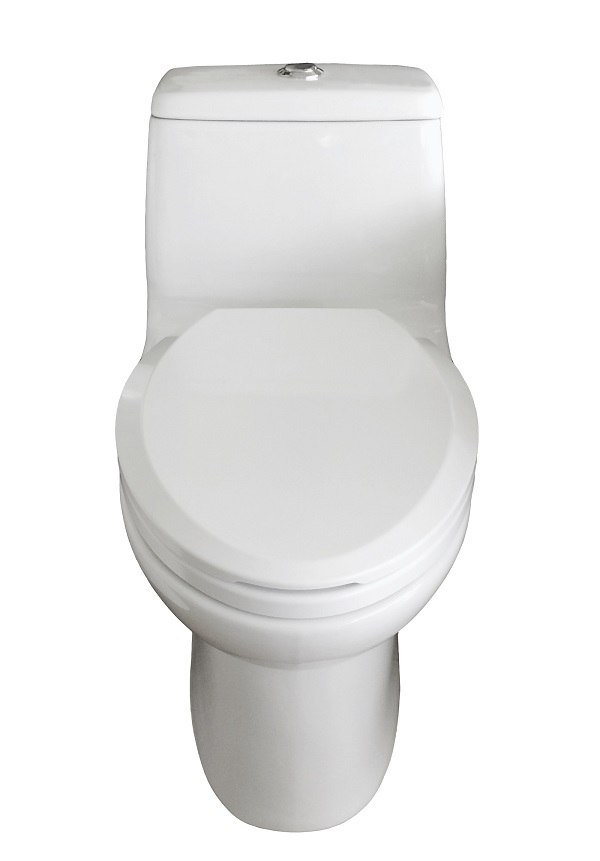 EVIVA EVTL527 HURRICANE ELONGATED COTTON WHITE ONE PIECE TOILET WITH SOFT CLOSING SEAT COVER, HIGH EFFICIENCY, WATER SENSE AND CUPC CERTIFIED WITH THE UNITED STATES PLUMBING STANDARDS