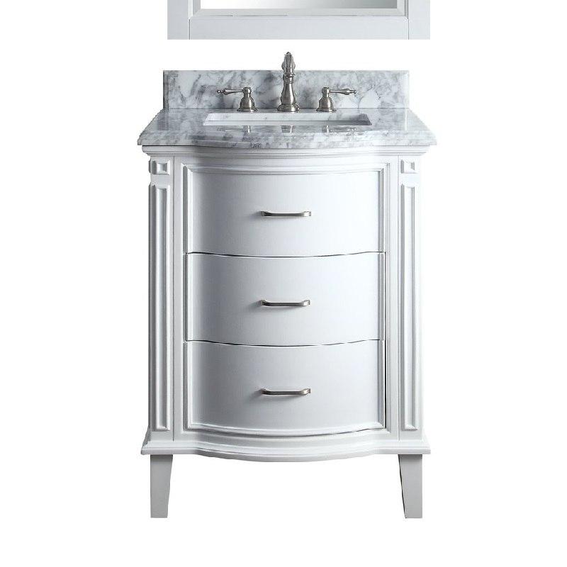 Chans Furniture Gd 9731 26 Inch Benton Collection Italian Carrara Marble White Tigan Bathroom Sink Vanity