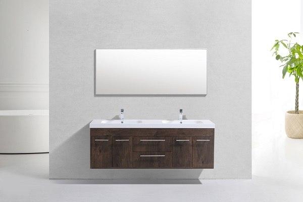 Eviva Evvn1500 8 60rswd Wm Eviva Lugano 60 Inch Rosewood Modern Bathroom Vanity Wall Mount With White Integrated