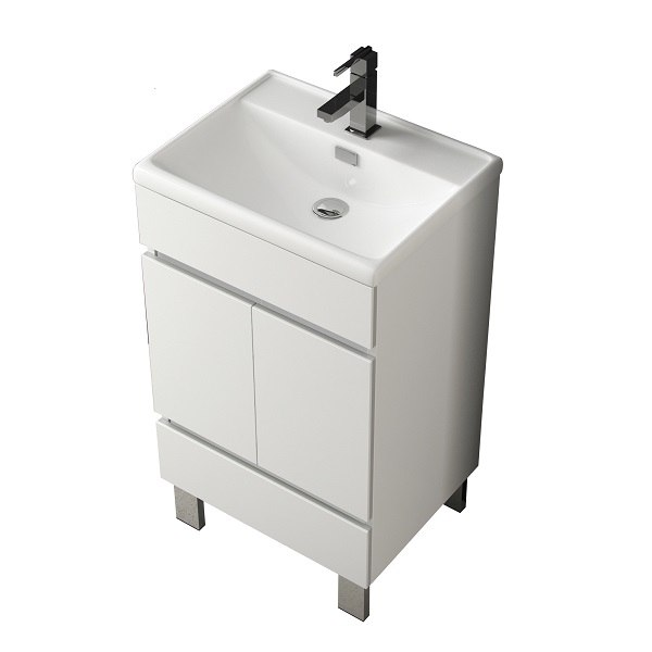 Eviva Evvn536 20wh Piscis 20 Inch White Bathroom Vanity With White Integrated Porcelain Sink
