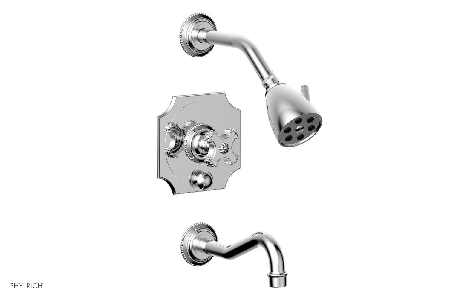 PHYLRICH 162-26 MARVELLE WALL MOUNT PRESSURE BALANCE TUB AND SHOWER SET WITH CROSS HANDLE