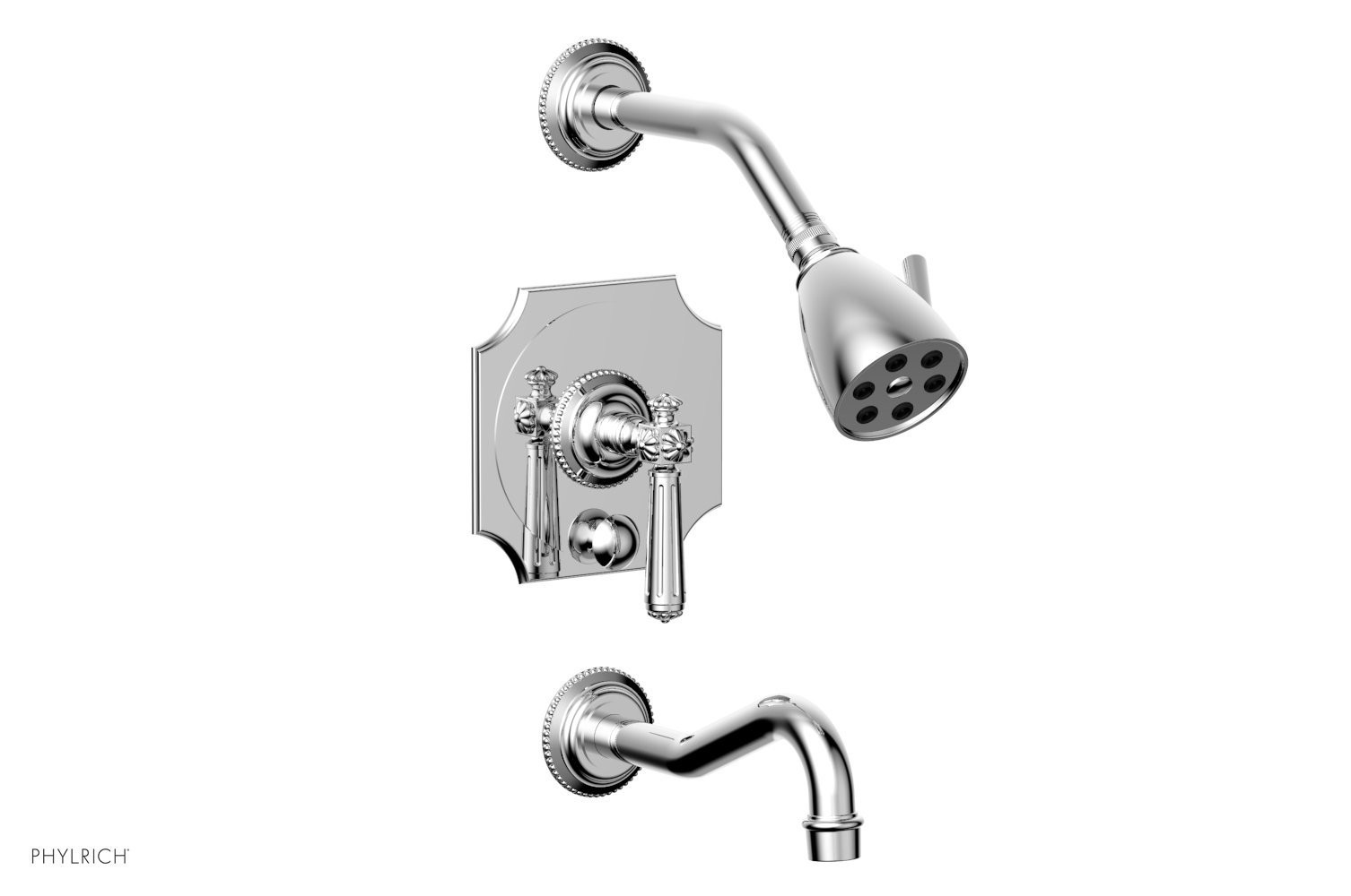 PHYLRICH 162-27 MARVELLE WALL MOUNT PRESSURE BALANCE TUB AND SHOWER SET WITH LEVER HANDLE
