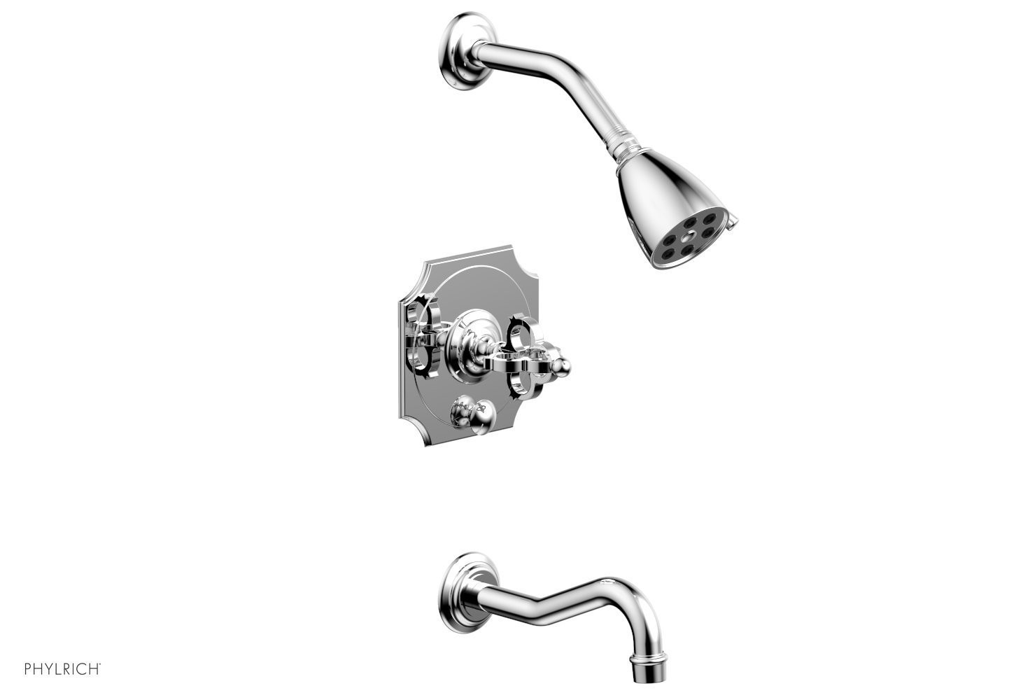 PHYLRICH 163-26 COURONNE WALL MOUNT PRESSURE BALANCE TUB AND SHOWER SET WITH CROSS HANDLE