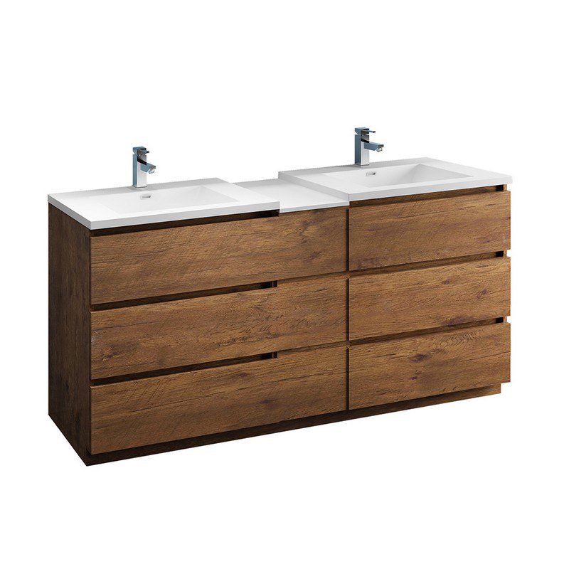 FRESCA FCB93-301230RW-D-I LAZZARO 72 INCH ROSEWOOD FREE STANDING DOUBLE SINK MODERN BATHROOM CABINET WITH INTEGRATED SINKS