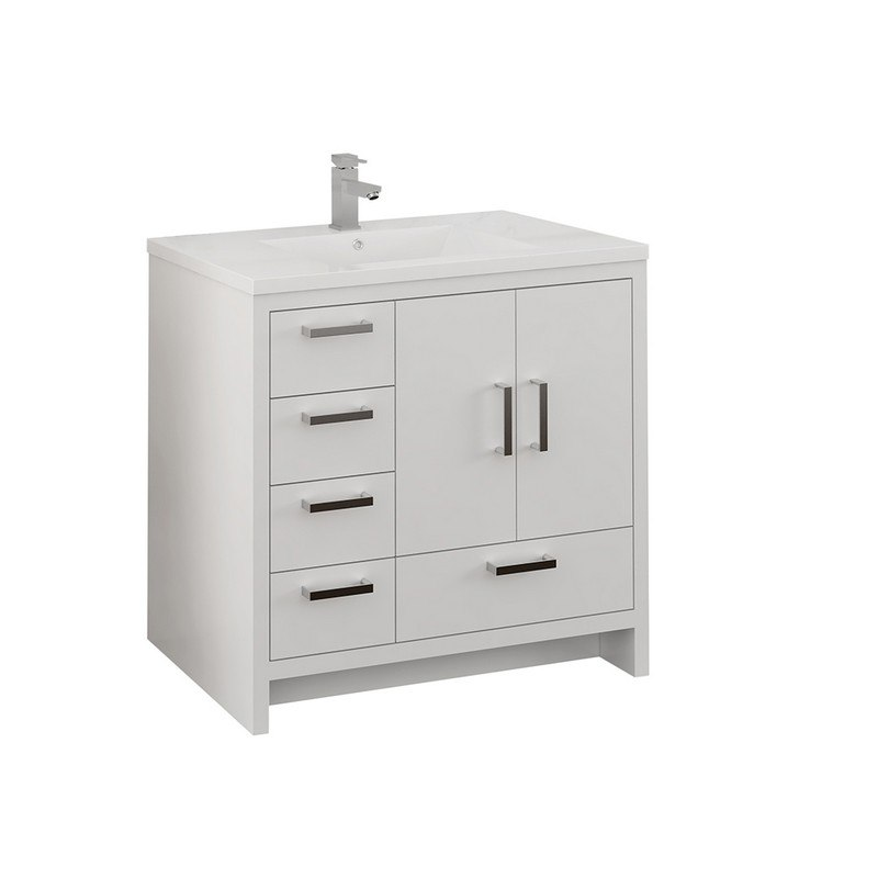 FRESCA FCB9436WH-L-I IMPERIA 36 INCH GLOSSY WHITE FREE STANDING MODERN BATHROOM CABINET WITH INTEGRATED SINK - LEFT VERSION