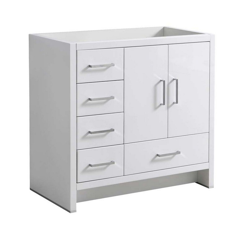 FRESCA FCB9436WH-L IMPERIA 36 INCH GLOSSY WHITE FREE STANDING MODERN BATHROOM CABINET - LEFT VERSION