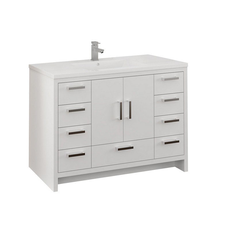 FRESCA FCB9448WH-I IMPERIA 48 INCH GLOSSY WHITE FREE STANDING MODERN BATHROOM CABINET WITH INTEGRATED SINK