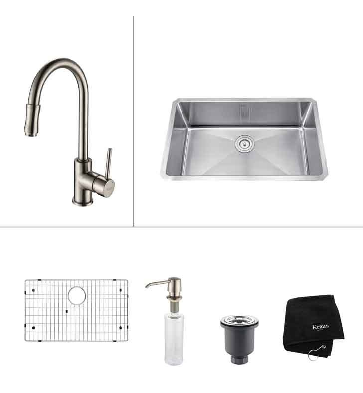 KRAUS KHU100-30-KPF1622-KSD30 30 INCH UNDERMOUNT SINGLE BOWL KITCHEN SINK & FAUCET W/ SOAP DISPENSER
