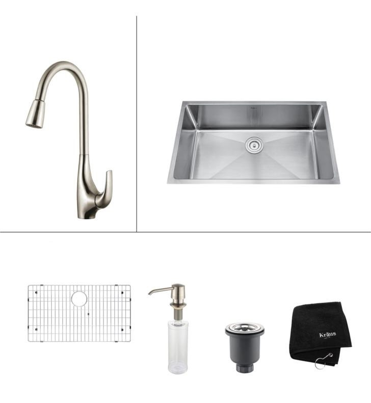 KRAUS KHU100-32-KPF1621-KSD30 32 INCH UNDERMOUNT SINGLE BOWL KITCHEN SINK & KITCHEN FAUCET W/ SOAP DISPENSER