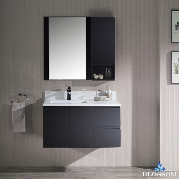 BLOSSOM 000 36 02 L WH M MONACO 36 INCH WALL MOUNT LEFT VANITY SET WITH MIRROR AND WALL CABINET IN ESPRESSO