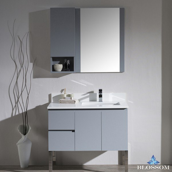 BLOSSOM 000 36 15 R L9 MONACO 36 INCH RIGHT VANITY SET WITH CHROME LEGS IN METAL GREY