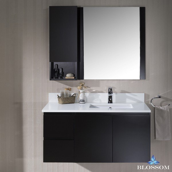 BLOSSOM 000 42 02 R WH M MONACO 42 INCH WALL MOUNT RIGHT VANITY SET WITH MIRROR AND WALL CABINET IN ESPRESSO
