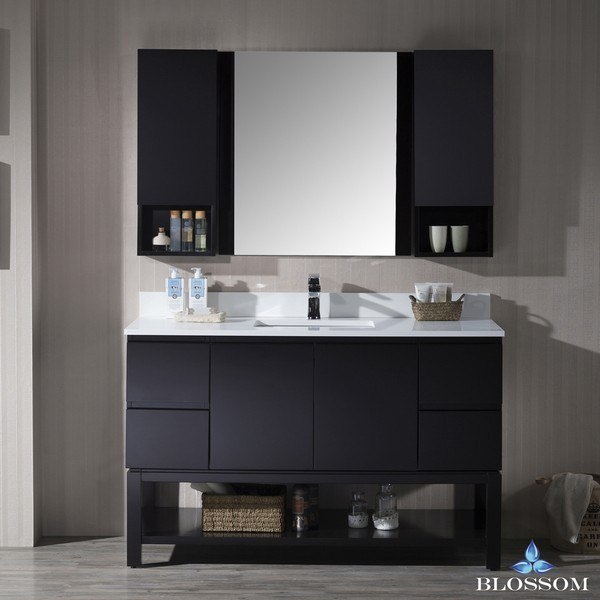 Blossom 000 54 02 Monaco 54 Inch Vanity Set With Mirror And Wall Cabinets In Espresso