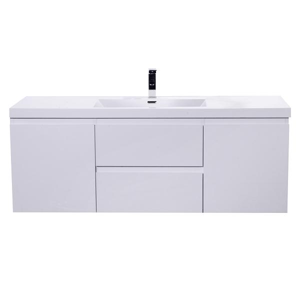 Moreno Bath Mob60s Gw Mod 60 Inch High Gloss White Wall Mounted Modern Bathroom Vanity With Reinforced Acrylic Sink