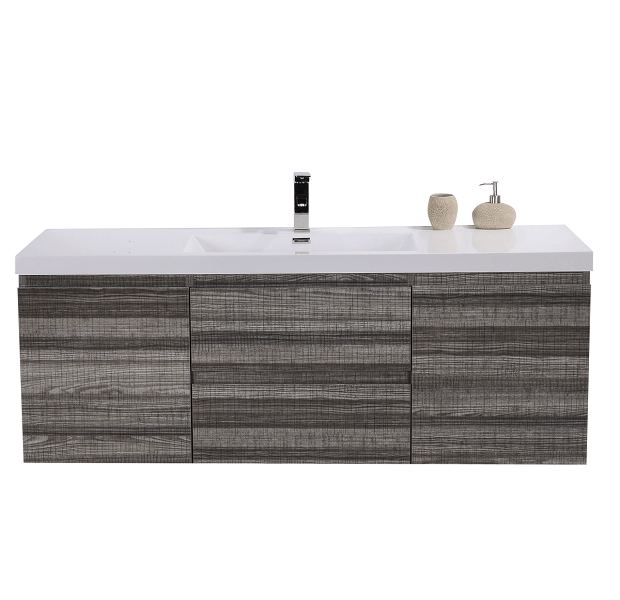 Moreno Bath MOB60S-HG MOD 60 Inch High Gloss Ash Grey Wall Mounted Modern Bathroom Vanity With Reinforced Acrylic Sink