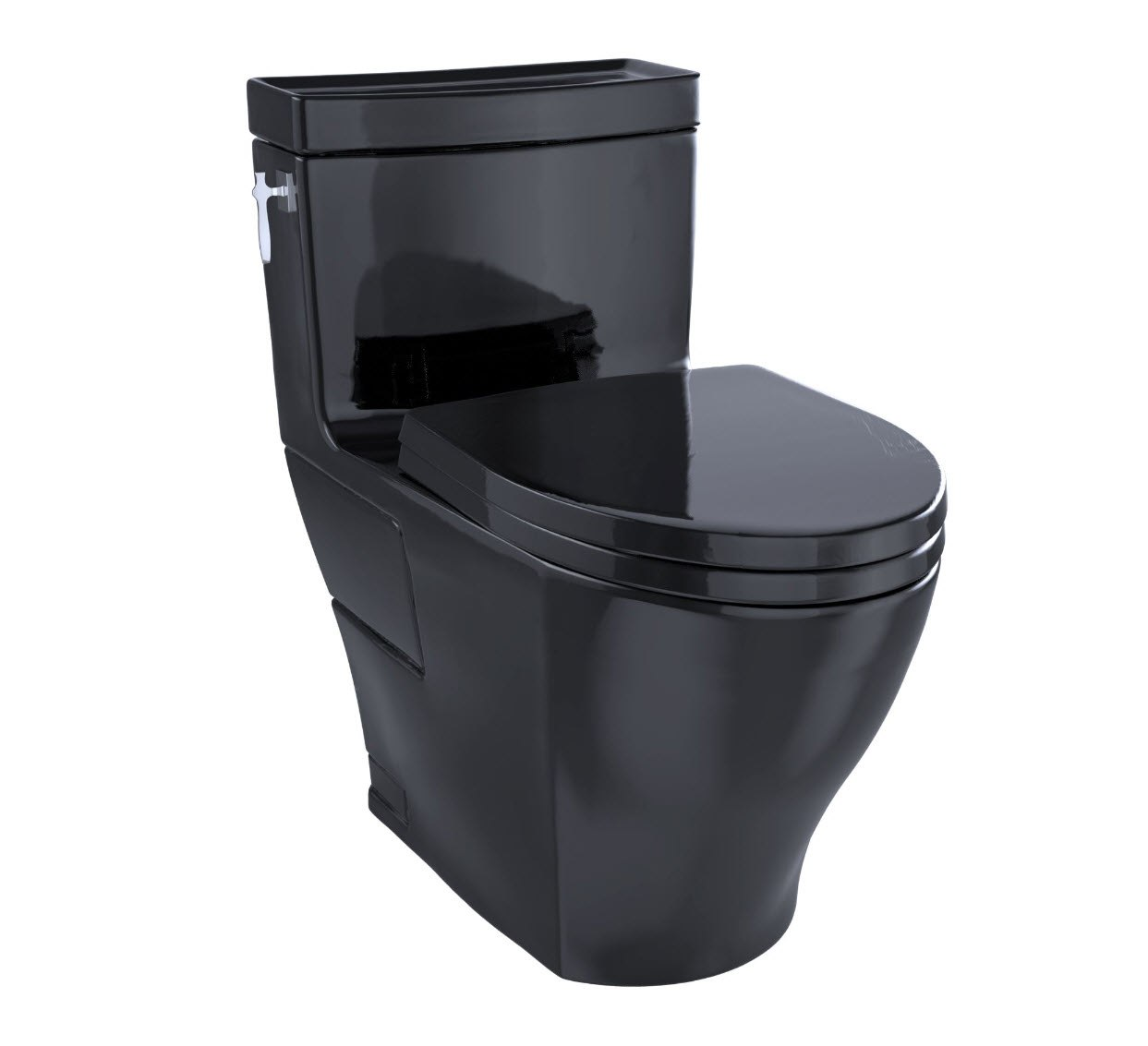 TOTO MS626124CEF#51 AIMES ONE-PIECE ELONGATED 1.28 GPF UNIVERSAL HEIGHT TOILET WITH SS124 SEAT IN EBONY