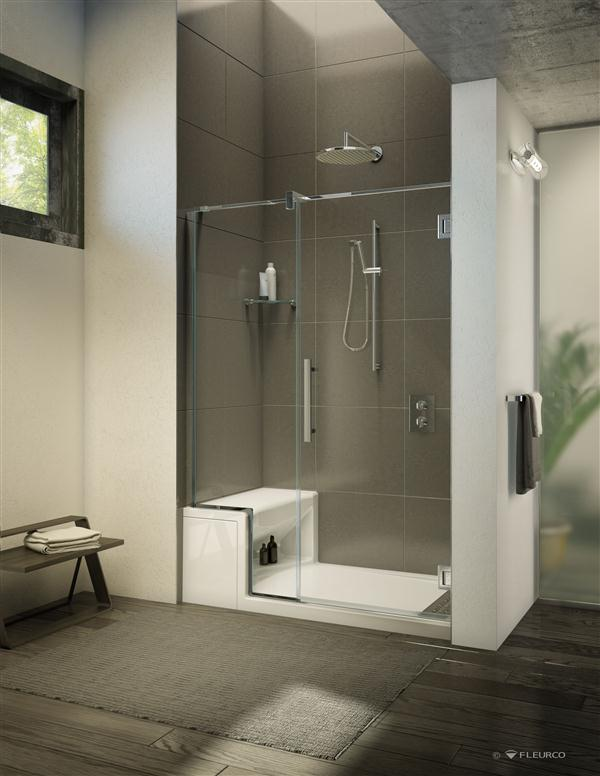Fleurco aser6036 18 alessa 60 x 36 inch shower base with seat for 18 x 60 window