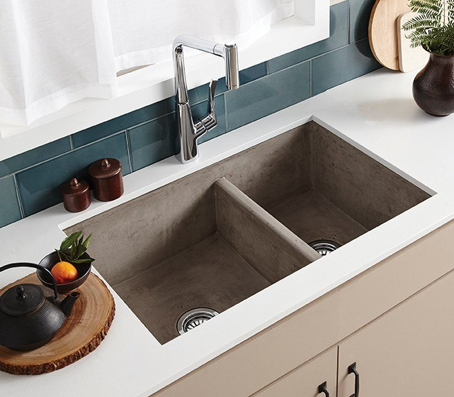 Native Trails NSKD3321 Farmhouse 33 Inch NativeStone Concrete Double Bowl Apron Front Sink
