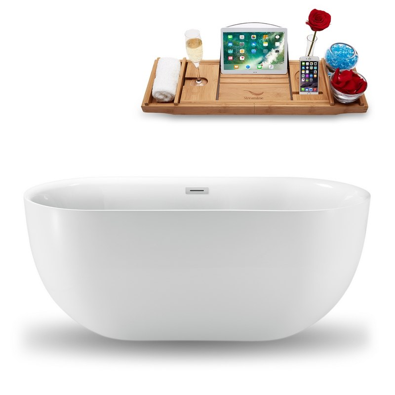 STREAMLINE N-1241-59FSWH-FM 59 INCH FREESTANDING TUB IN GLOSSY WHITE WITH INTERNAL DRAIN, AND TRAY