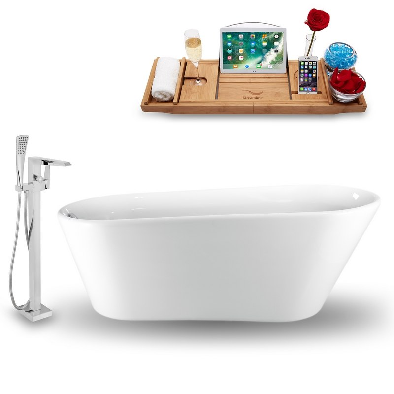 STREAMLINE NH1520-100 61 INCH FREESTANDING TUB IN GLOSSY WHITE WITH FAUCET, DRAIN, AND TRAY SET