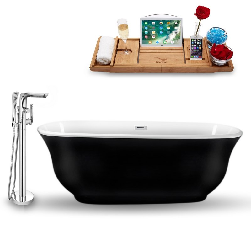 STREAMLINE NH663-120 67 INCH FREESTANDING TUB, FAUCET AND TRAY SET