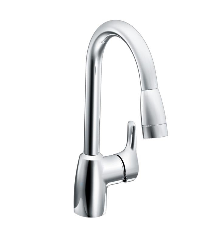 MOEN A42519 BAYSTONE SINGLE HANDLE DECK MOUNTED PULLOUT KITCHEN FAUCET