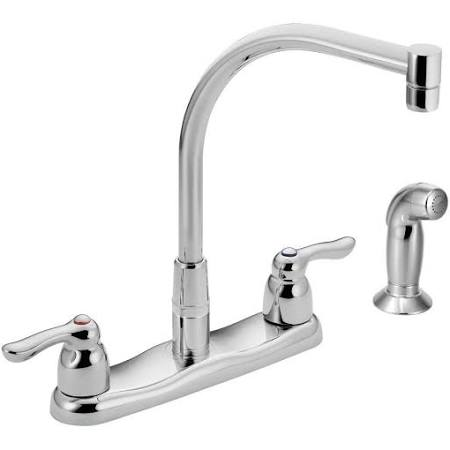 Moen 8792 M-BITION Two-Handle High Arc Kitchen Faucet with Side Spray