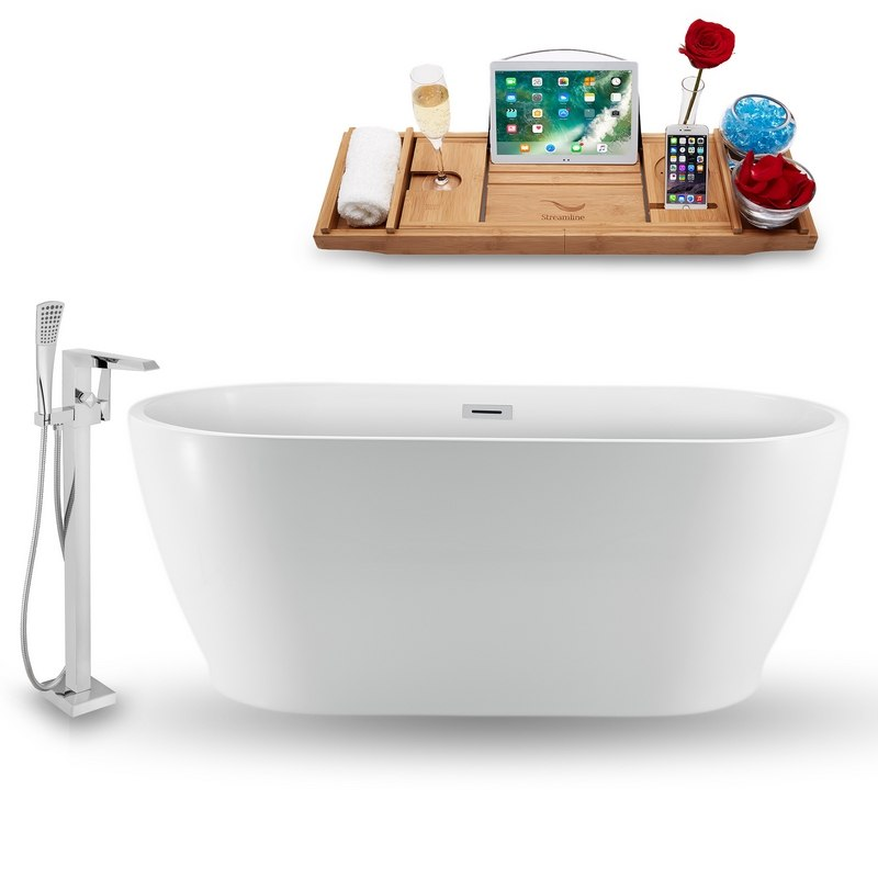 STREAMLINE NH880-100 59 INCH FREESTANDING TUB IN GLOSSY WHITE WITH FAUCET, DRAIN, AND TRAY SET