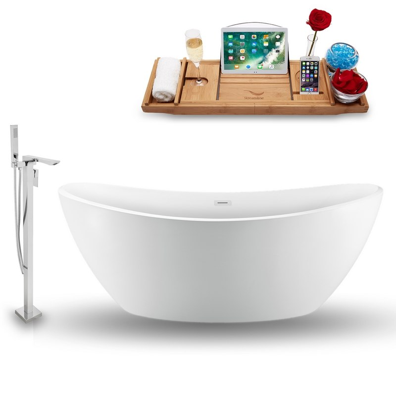 STREAMLINE NH940-140 75 INCH FREESTANDING TUB IN GLOSSY WHITE WITH FAUCET, DRAIN, AND TRAY SET