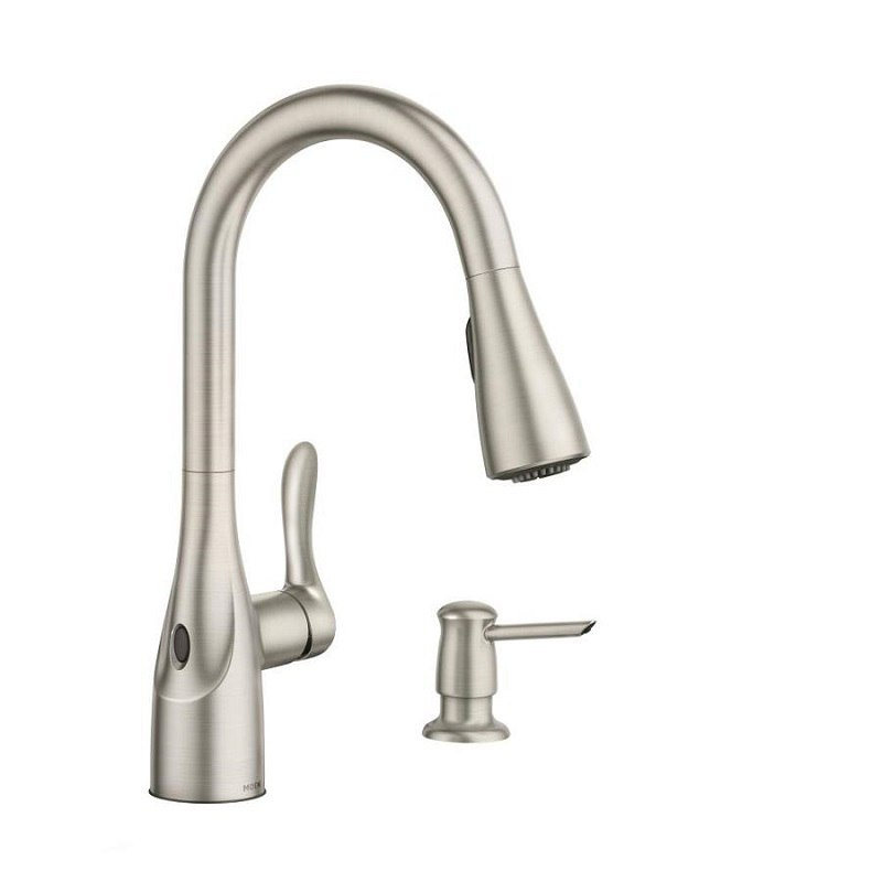 Moen 87087EWSRS Arlo MotionSense Wave One-Handle Pulldown Kitchen Faucet in  Spot Resist Stainless