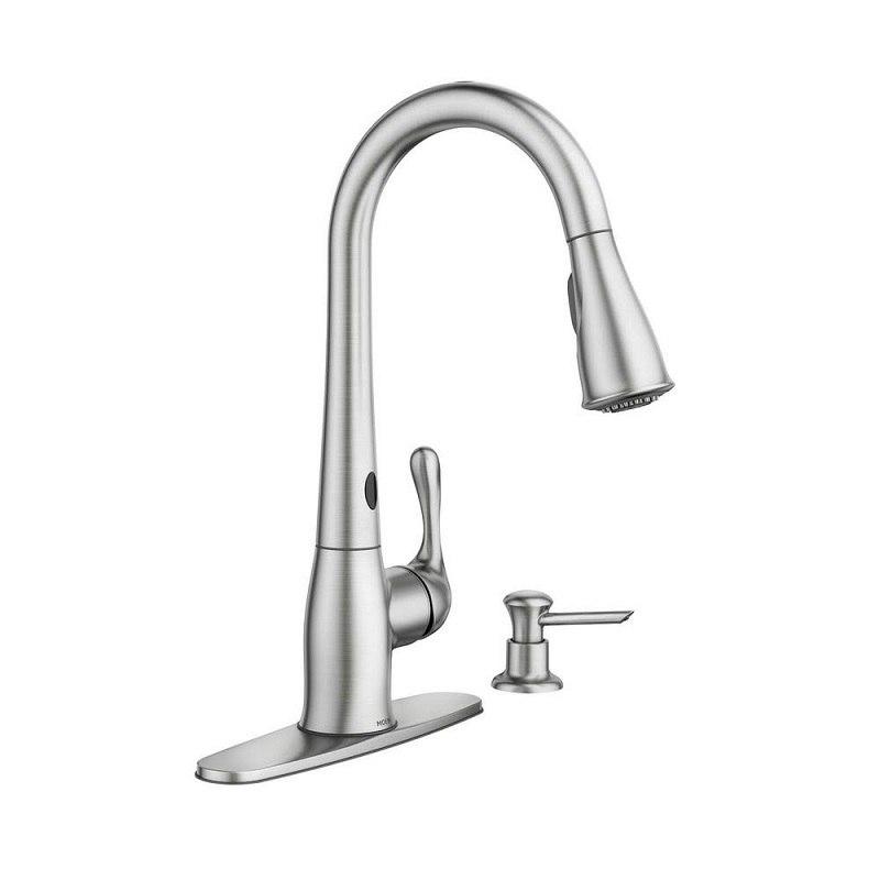 Moen 87340ESRS Ridgedale Spot Resist Stainless One-Handle High Arc Motion  Sense Pulldown Kitchen Faucet
