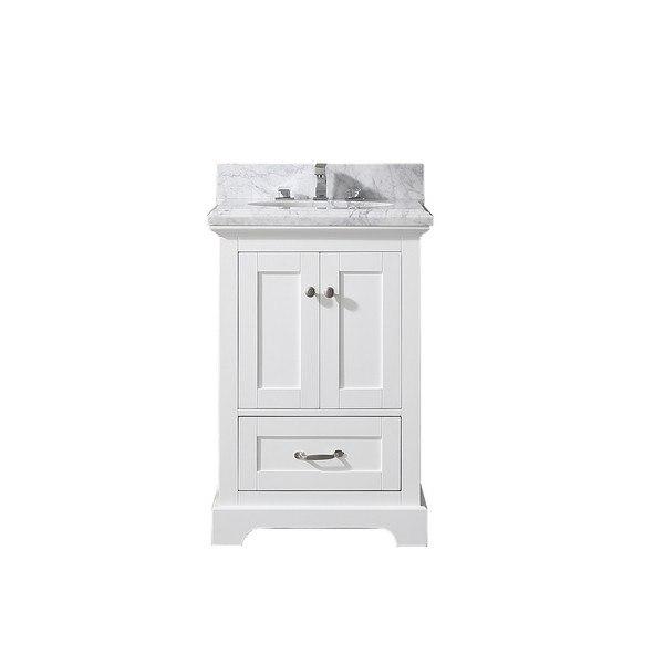 Eviva Evvn525 24wh Houston 24 Inch White Bathroom Vanity With Whitecarrara Marble Countertop