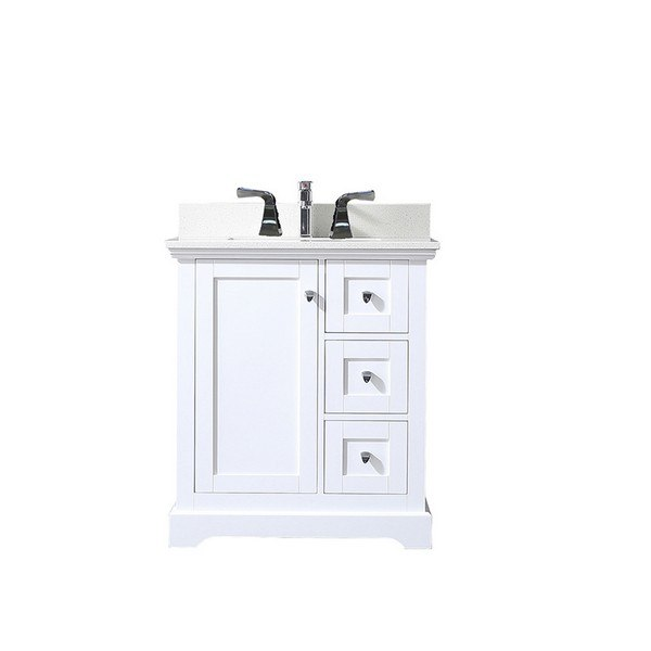 Eviva Evvn525 30wh Houston 30 Inch White Bathroom Vanity With Whitecarrara Marble Countertop