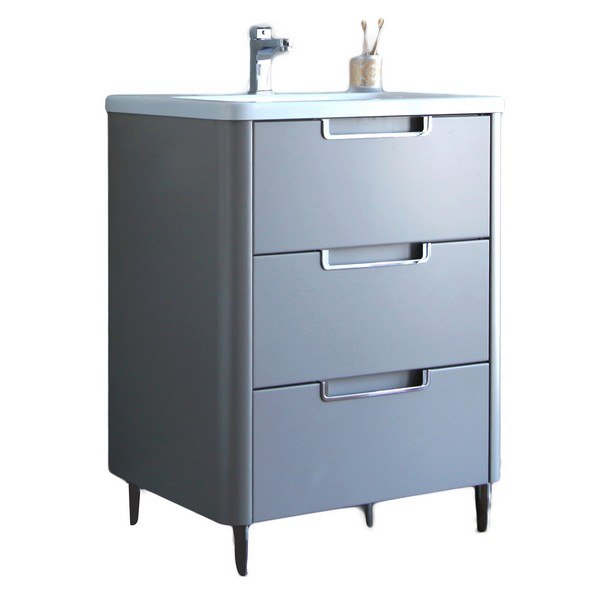 Eviva Evvn74 26gr Marbella 26 Inch Bathroom Vanity In Fossil Gray And White Integrated Acrylic Countertop