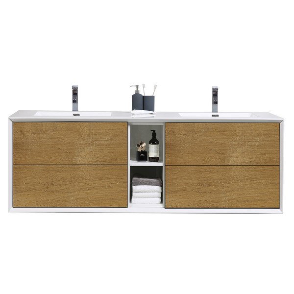 EVIVA EVVN777-75OAK-WH VIENNA 75 INCH OAK WHITE WALL MOUNT BATHROOM VANITY WITH WHITE INTEGRATED ACRYLIC DOUBLE SINKS